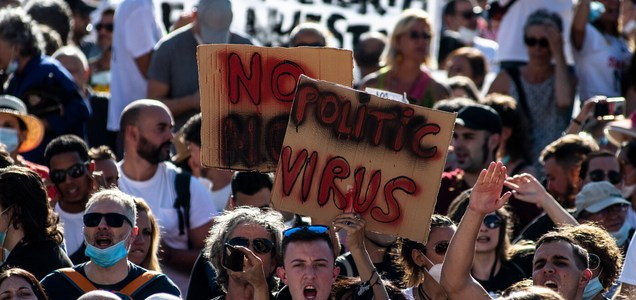 'We Can't Live Like Zombies': Protesters In Spain Decry COVID-19 Mask Mandate