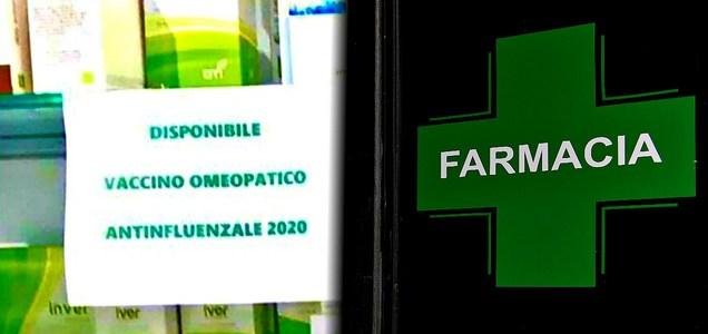 """""""Disponibile vaccino influenzale omeopatico"""". Il cartello-truffa esposto in diverse farmacie."""