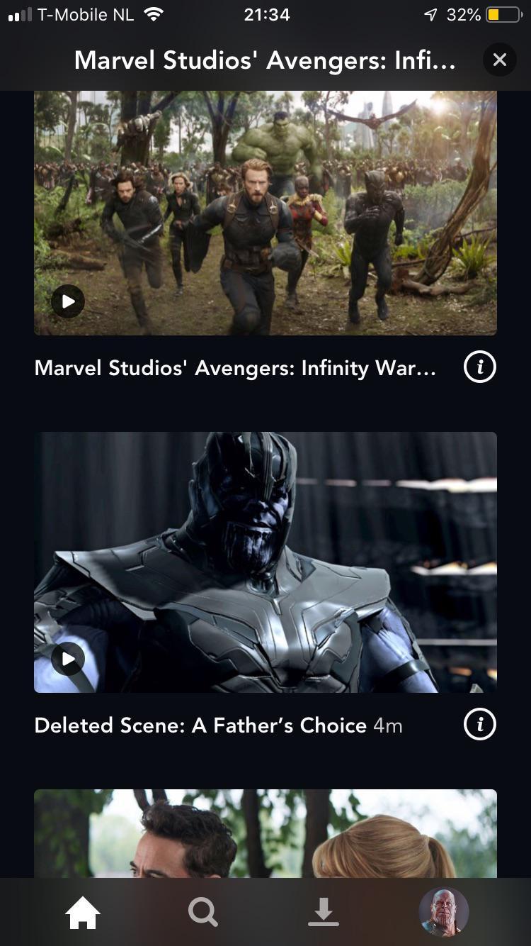 Layanan streaming Disney+ di Belanda, terlihat deleted scenes dari film Infinity War tersedia.