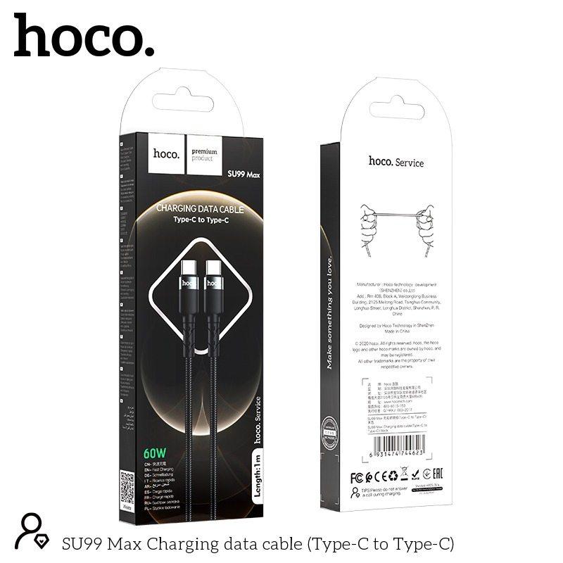 CÁP SẠC NHANH HOCO SU99 MAX TYPE C RA TYPE C DÒNG 3A / 60W - CHÍNH HÃNG